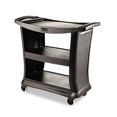 Rubbermaid® Executive Service Cart, 3-Shelf, 20-1/3w x 38-9/10d, Black - Pack of 1 Count