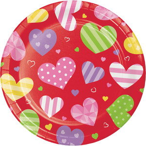 VALENTINE HEARTS PAPER PLATES - Pack of 96 Count