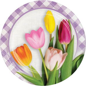 SPRING TULIPS PAPER PLATES - Pack of 96 Count