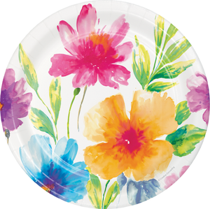 WATERCOLOR FLORAL PAPER PLATES - Pack of 96 Count