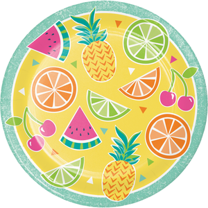 SUMMER FRUIT PAPER PLATES - Pack of 96 Count