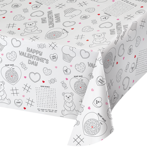 VALENTINE ACTIVITY PAPER TABLE COVERS - Pack of 12 Count