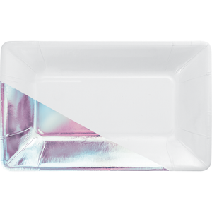 WHITE IRIDESCENT FOIL RECTANGULAR PAPER PLATES BY ELISE - Pack of 48 Count