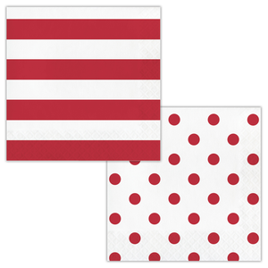 DOTS & STRIPES CLASSIC RED NAPKINS - Pack of 192 Count