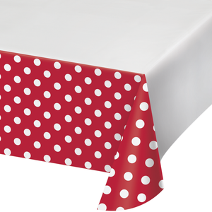 DOTS & STRIPES CLASSIC RED PLASTIC TABLECLOTH - Pack of 12 Count