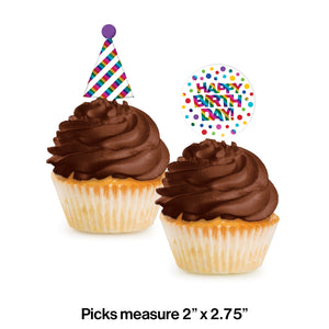 RAINBOW FOIL CUPCAKE PICKS - Pack of 144 Count