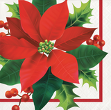 HOLIDAY POINSETTIA BEVERAGE NAPKINS - Pack of 192 Count