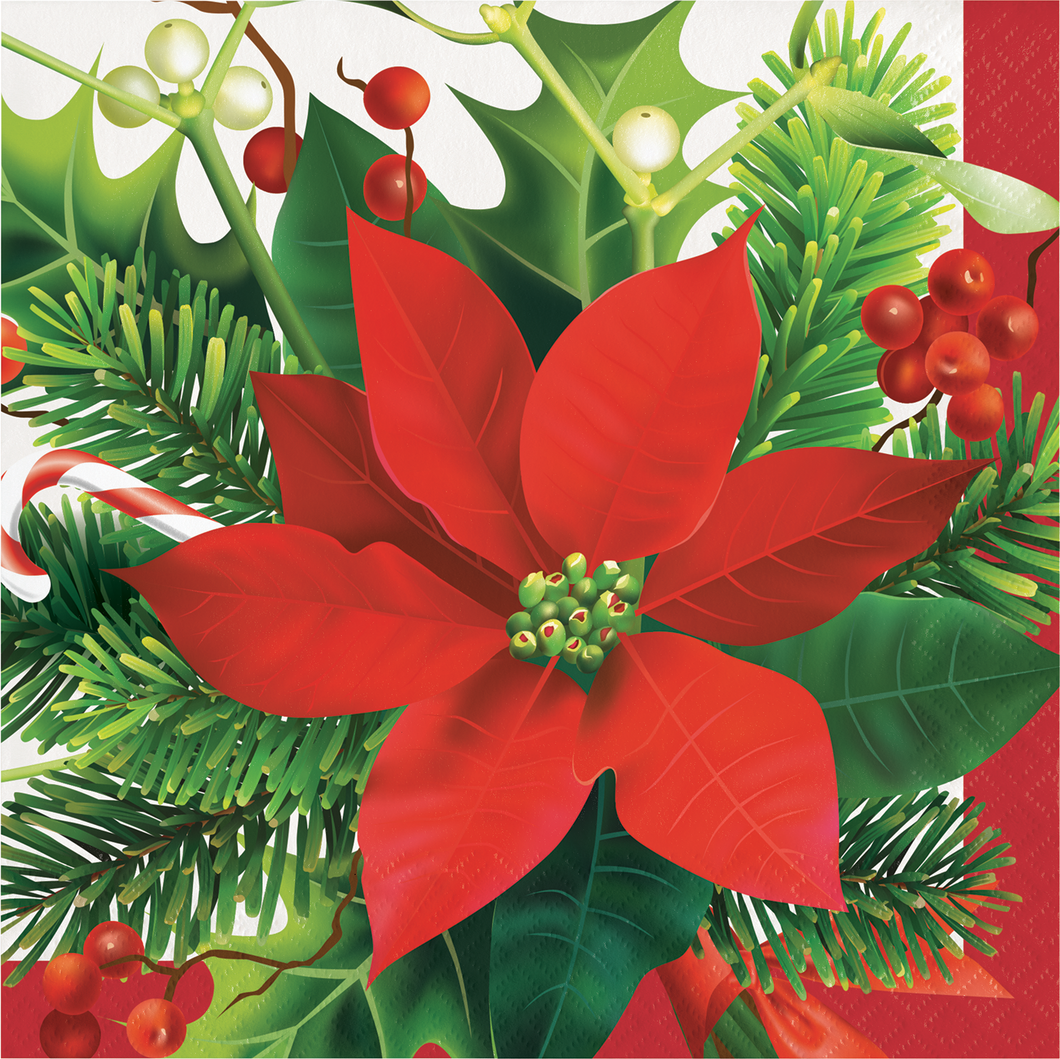 HOLIDAY POINSETTIA NAPKINS - Pack of 192 Count