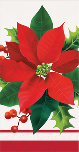 HOLIDAY POINSETTIA GUEST TOWELS - Pack of 192 Count