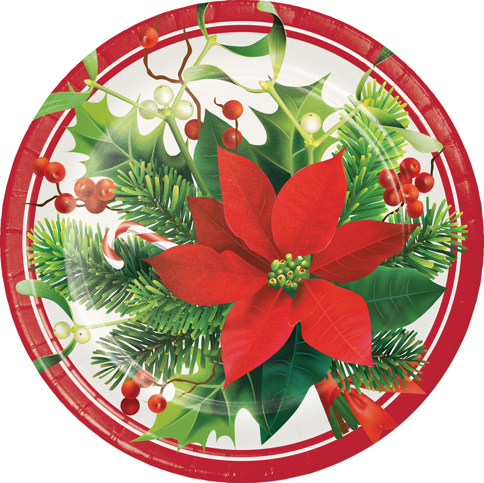 HOLIDAY POINSETTIA PAPER PLATES - Pack of 96 Count
