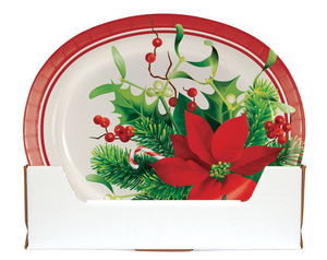 HOLIDAY POINSETTIA OVAL PLATES - Pack of 96 Count