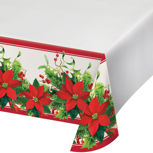 HOLIDAY POINSETTIA PLASTIC TABLECLOTH - Pack of 12 Count