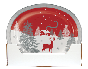 WINTER WONDER OVAL PLATES - Pack of 96 Count