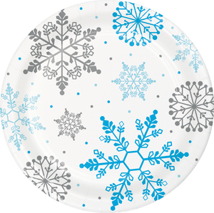 WINTER SNOWFLAKE PAPER PLATES - Pack of 96 Count