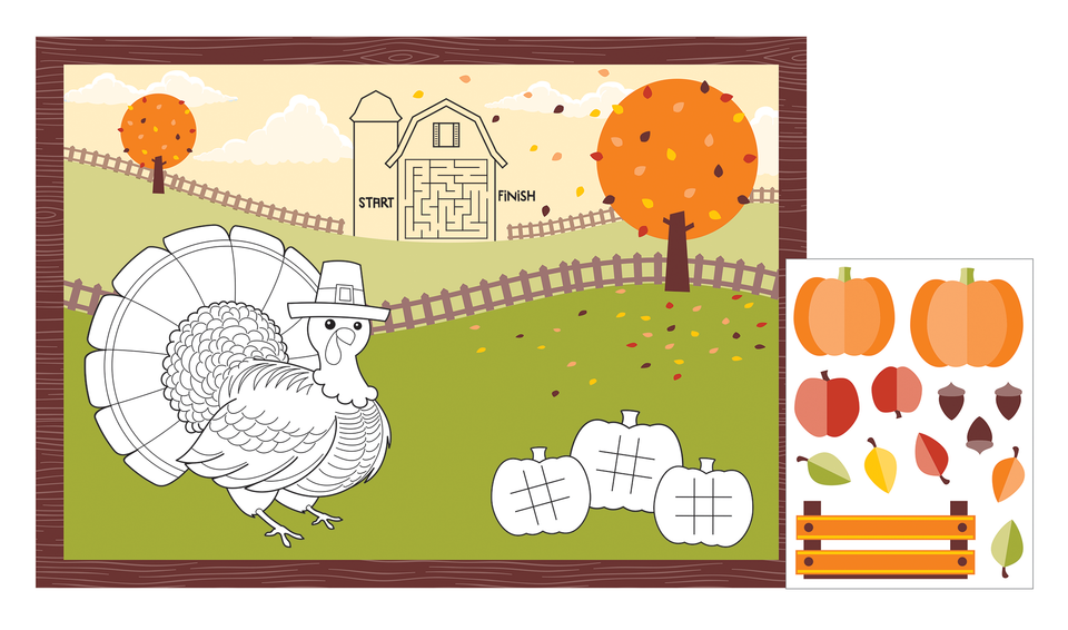 THANKSGIVING FALL SCENE ACTIVITY PLACEMATS - Pack of 96 Count