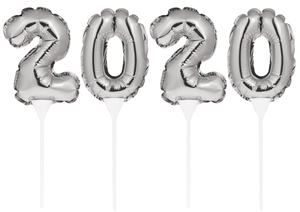 2020 SILVER BALLOON CAKE TOPPER - Pack of 48 Count