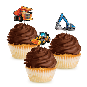 BIG DIG CONSTRUCTION CUPCAKE TOPPER - Pack of 144 Count