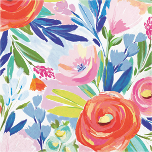 BRUSHED FLORALS LUNCHEON NAPKINS - Pack of 192 Count