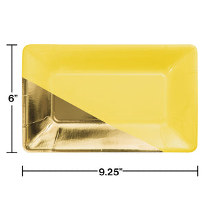 YELLOW GOLD FOIL RECTANGULAR PAPER PLATES BY ELISE - Pack of 48 Count