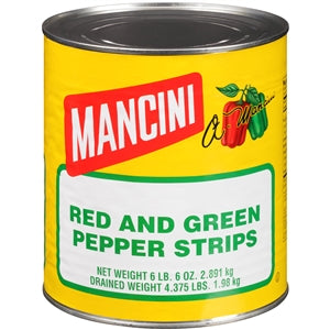 Mancini Red and Green Pepper Strips - 102oz - Pack of 6 Count