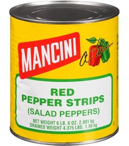 Mancini Red Pepper Strips Cans - 102oz - Pack of 6 Count