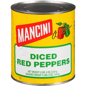 Mancini Diced Red Pepper Cans - 102oz - Pack of 6 Count