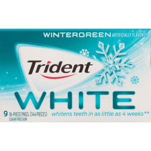 Trident White Sugarless Gum, Wintergreen, 16 ct - Pack of 2592 Count
