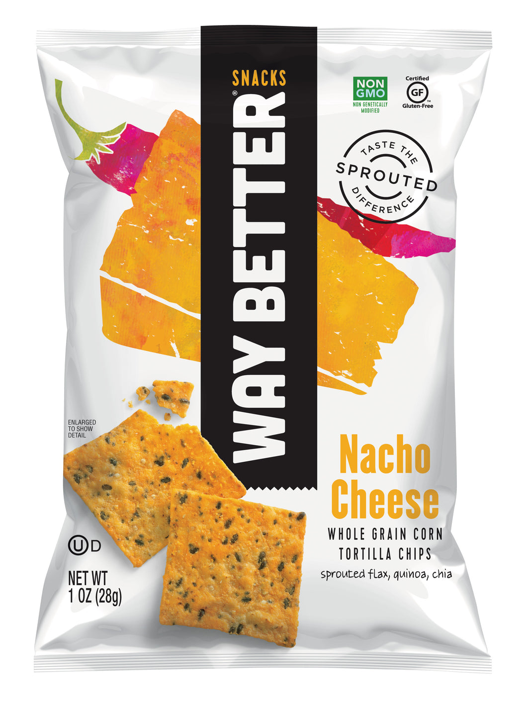 Way Better Snacks Nacho Cheese Tortilla Chips - 1oz - Pack of 12 Count