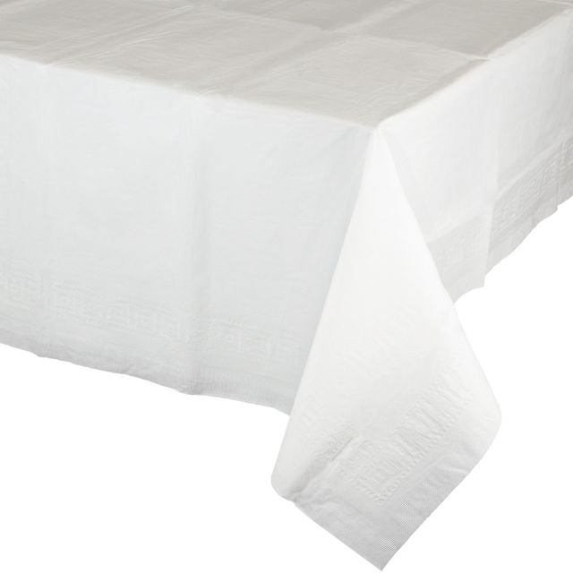"White Table Covers Paper, Plastic-Lined 54""x108"" - Pack of 6 Count"