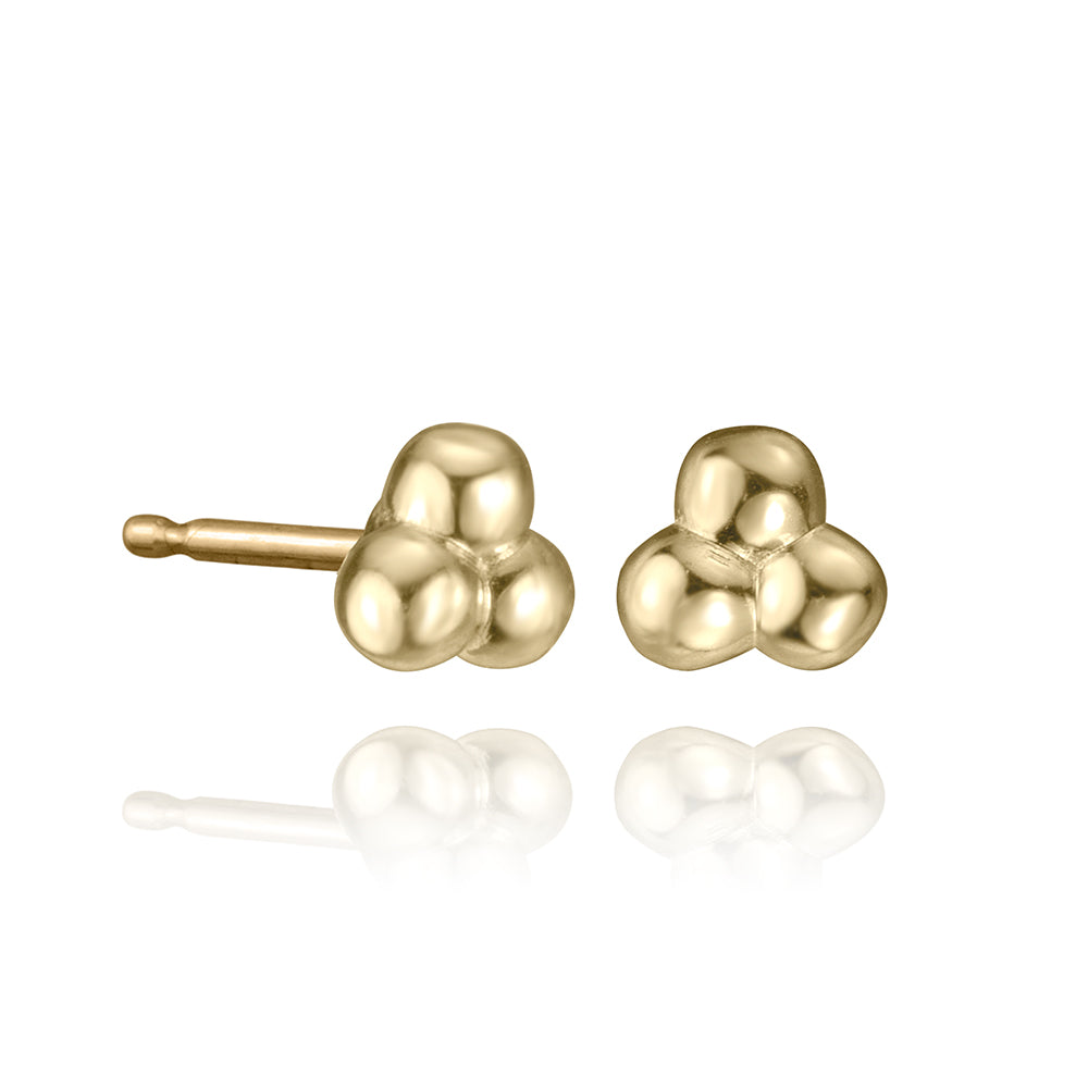 lafia mini stud collection bead trio stud in 14k yellow gold