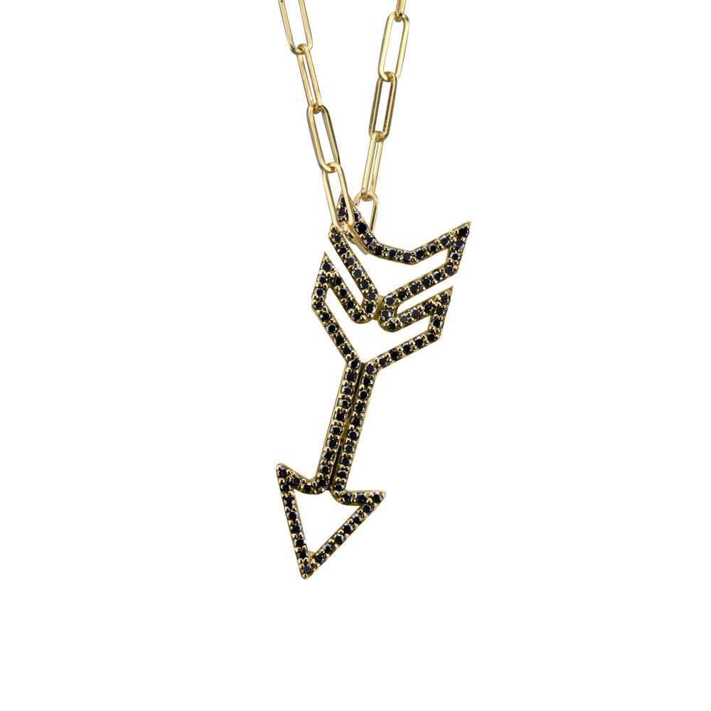 Arrow Charm (small) with black diamonds in yellow gold on small paperclip chain, amethyst, blue topaz, citrine, emerald, pink sapphire, ruby or rainbow