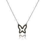 lafia collection black diamond open butterfly necklace 14 karat white gold