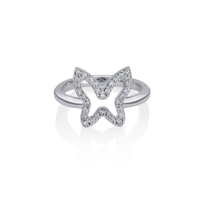 lafia collection diamond open butterfly ring in 14 karat white gold