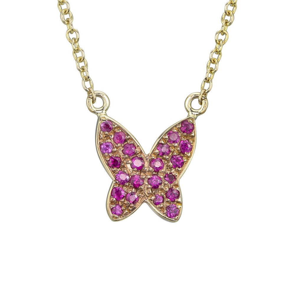 lafia collection ruby butterfly necklace 14k yellow gold