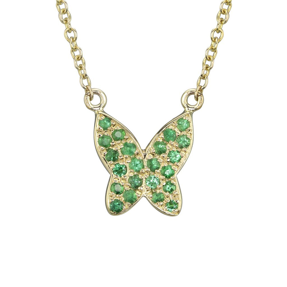 lafia collection emerald butterfly necklace 14k yellow gold