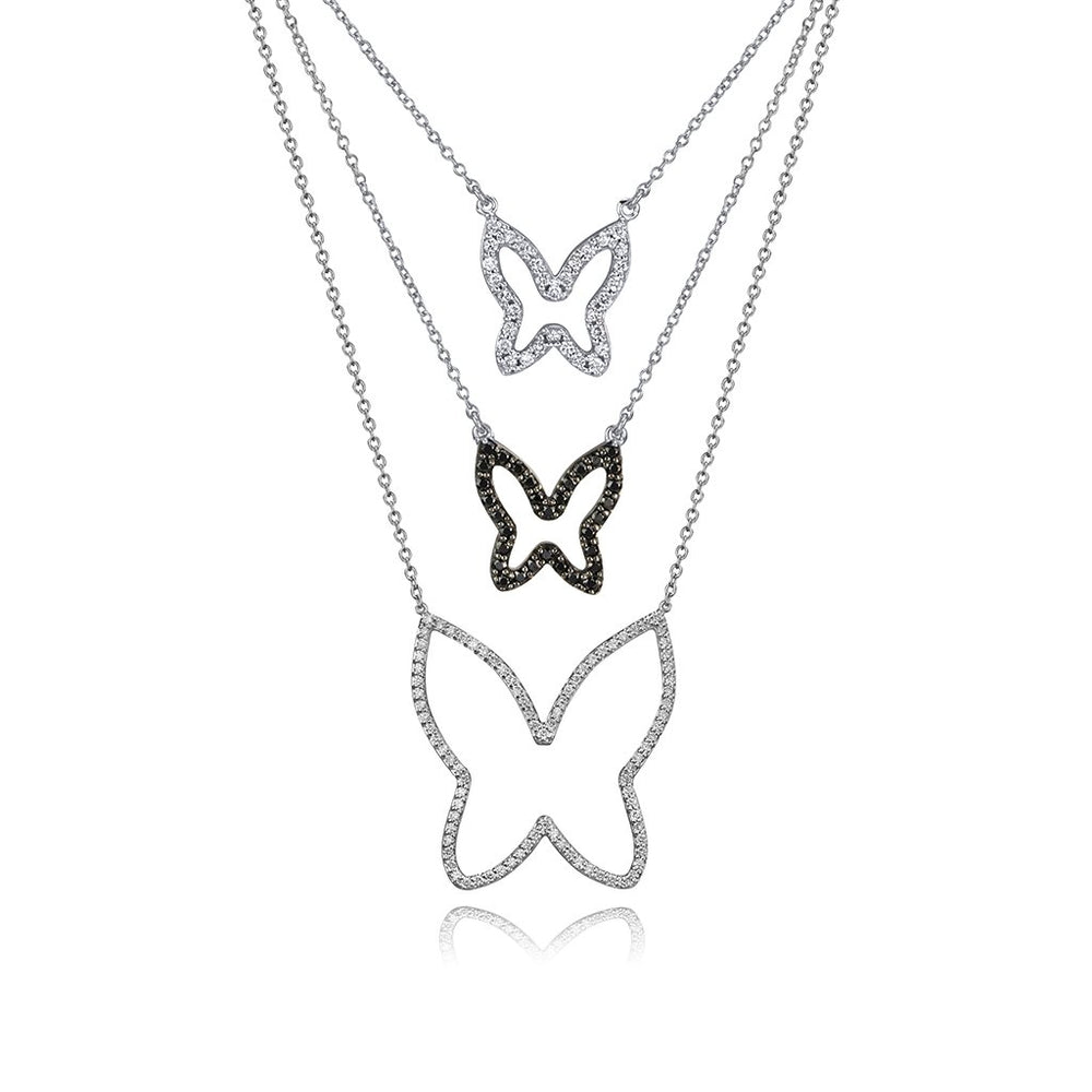 lafia collection black diamond open butterfly necklace 14 karat white gold layers