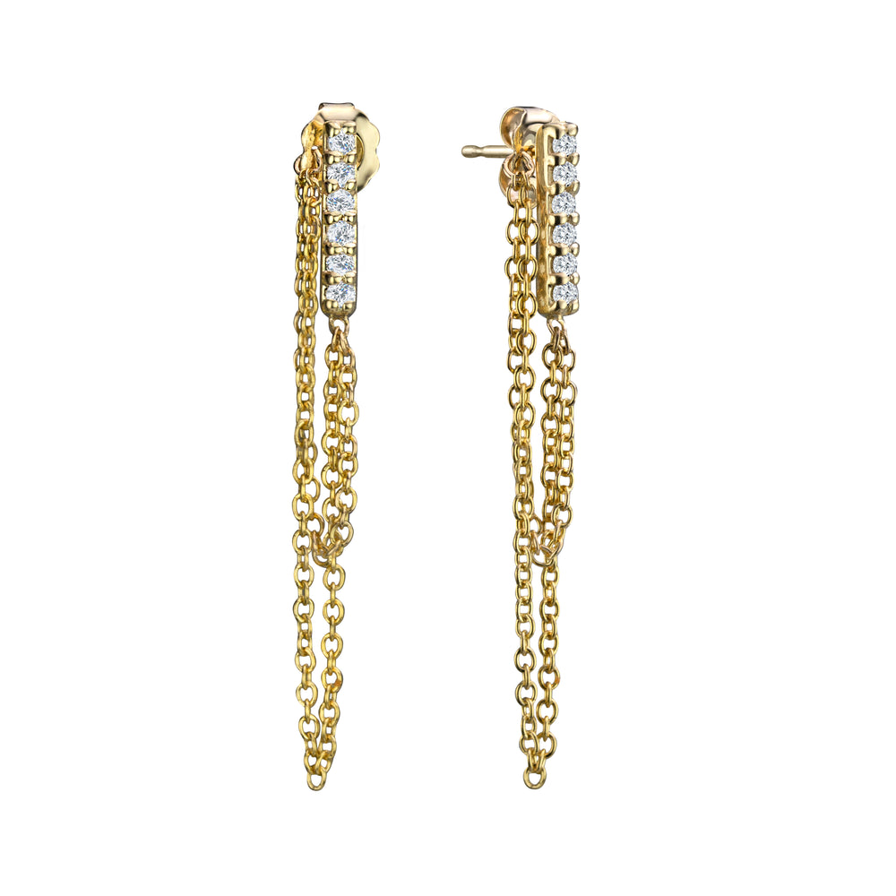 DIAMOND LINE DOUBLE CHAIN EARRINGS