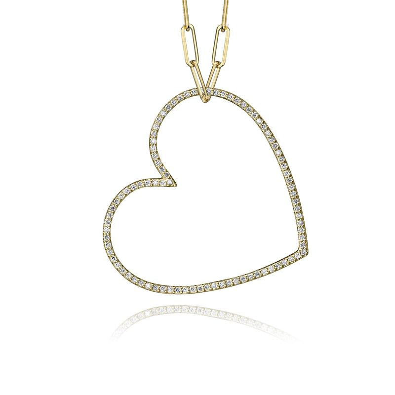lafia charm collection large diamond heart necklace on medium paper clip chain set in yellow 14k gold