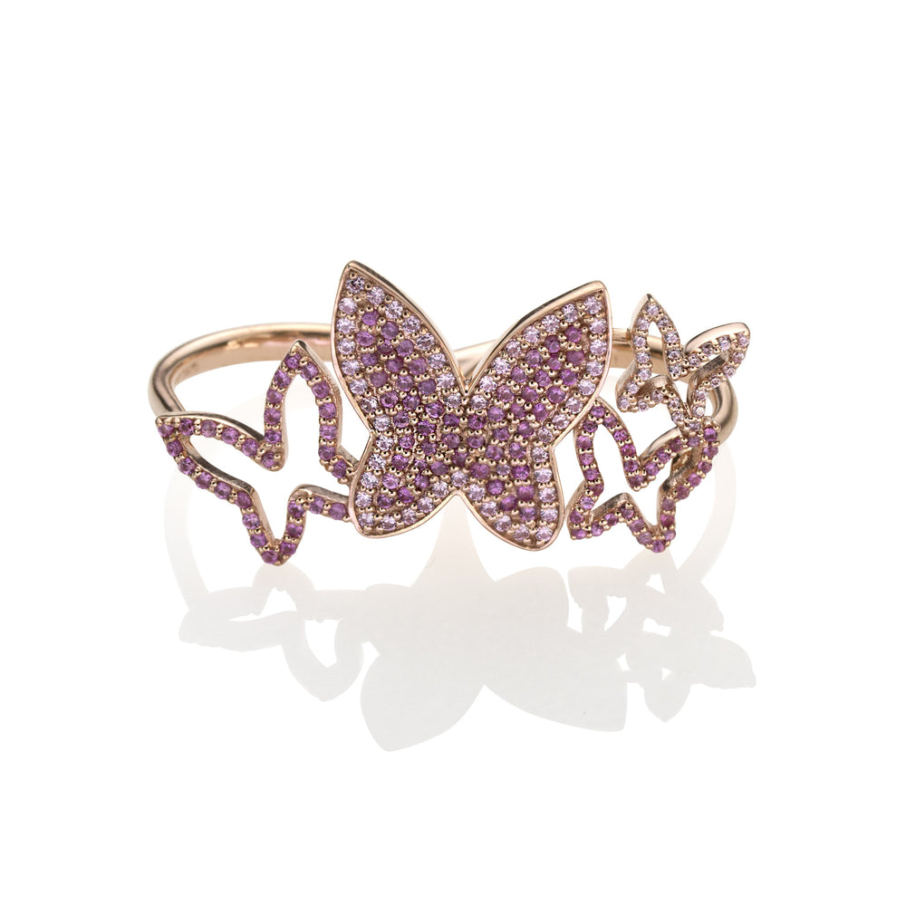 lafia collection ruby and pink sapphire butterfly ring, double finer,  in 14 karat rose gold
