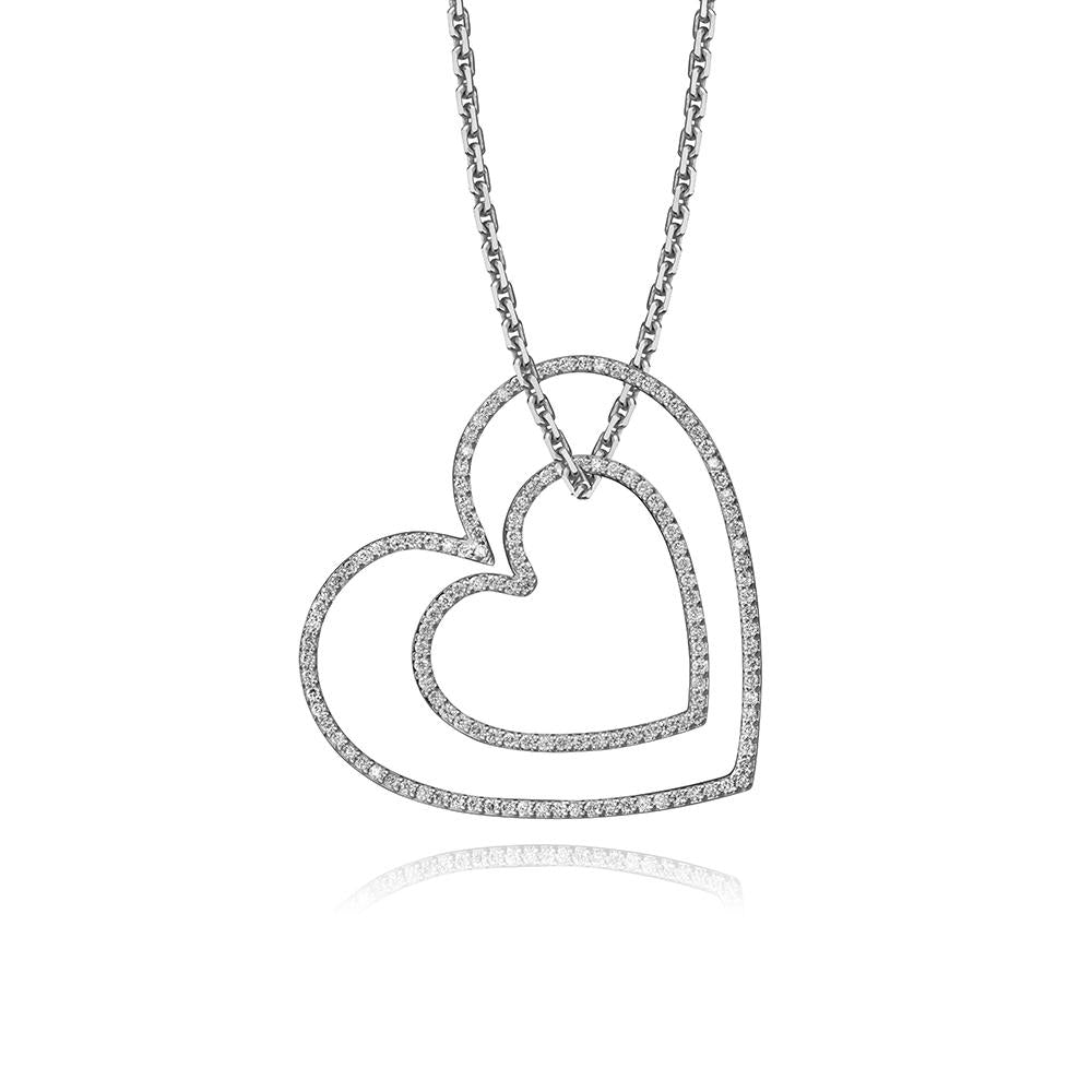 lafia charm collection large and small diamond heart charms on oval channel chain in 14k white gold