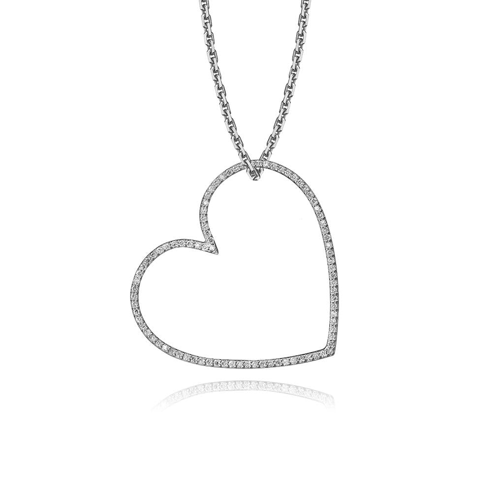 lafia charm collection large diamond heart necklace on oval channel chain set in white 14k gold