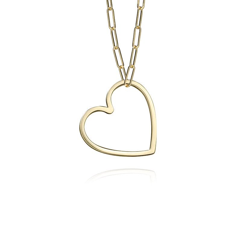small paper clip chain in 14k yellow gold with small heart charm in 14k yellow gold