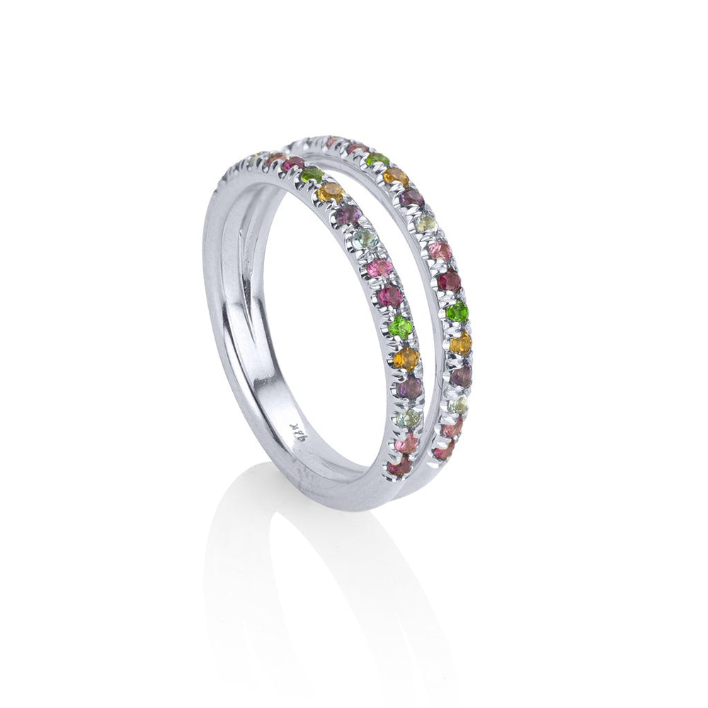 lafia straight and narrow rainbow double eternity ring white gold alternate view