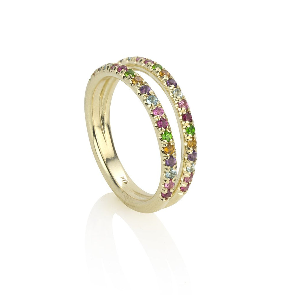 lafia straight and narrow rainbow double eternity ring yellow gold alternate view