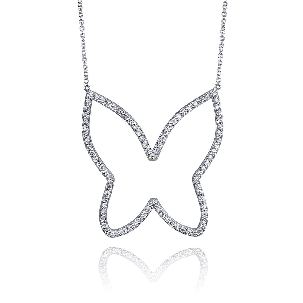 DIAMOND OPEN BUTTERFLY NECKLACE - LARGE