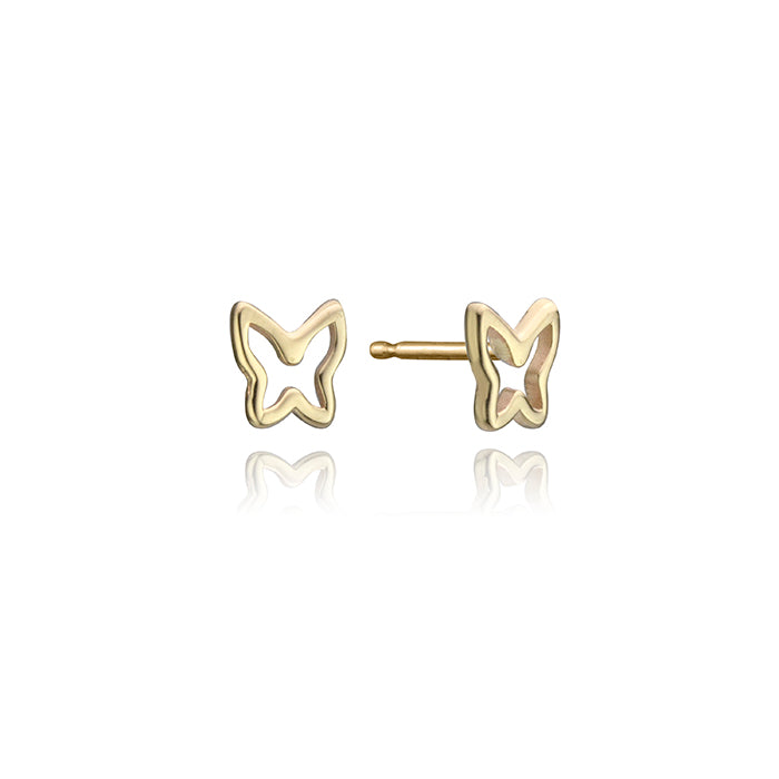 lafia mini stud collection open butterfly stud yellow gold