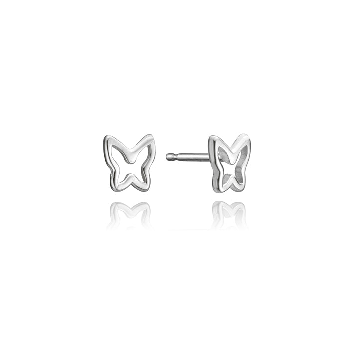 lafia mini stud collection butterfly stud white gold