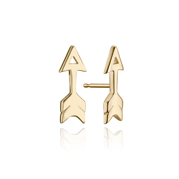 lafia mini stud collection open arrow stud yellow gold