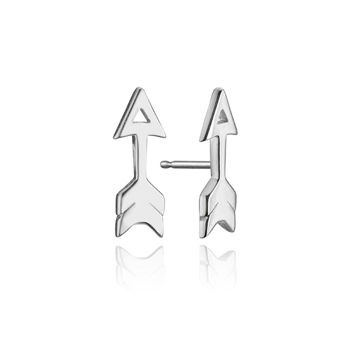 lafia mini stud collection open arrow stud white gold