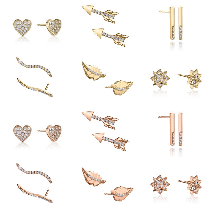 Lafia Lauren's Mix N' Match stud collection in 14 karat yellow and rose gold embellished with white diamonds